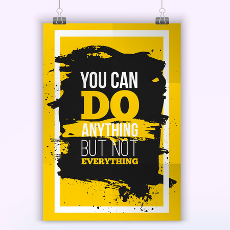 You can do Anything  Motivation Business Quote. Mock up Poster. Design Concept on paper with dark stain easy to edit. A4 format