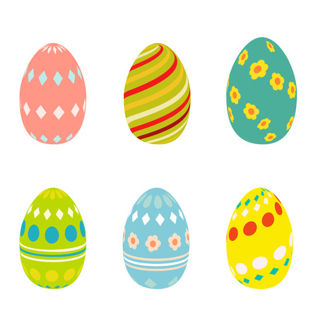 cons: Flat Easter eggs cons. Easter eggs isolated on white background. Easter eggs for greeting cards. Easter eggs icons in cartoon modern style. Easter eggs design Illustration