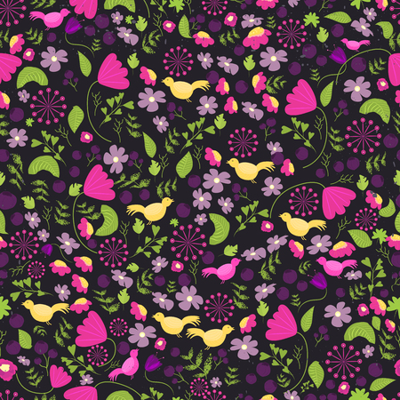 Colorful ethnic flower seamless pattern. Mexican flower pattern. Flower seamless pattern with leaves and birds on dark background