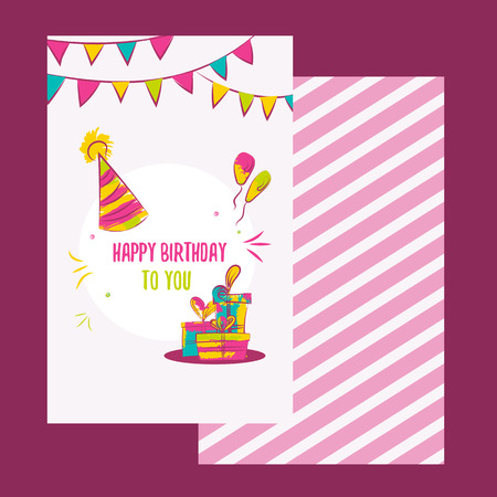 green card: Vector happy birthday card. Colorful happy birthday design can be used for happy birthday banners, promo, happy birthday icons, happy birthday invitations, flyers