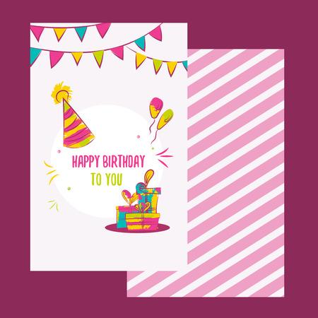 Vettore scheda di buon compleanno. Disegno variopinto di buon compleanno può essere utilizzato per i banner di buon compleanno, promo, felici icone compleanno, inviti buon compleanno, volantini