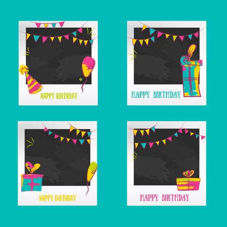 Verjaardag Photo frames. Decoratieve fotolijst sjablonen voor baby, gebeurtenissen of herinneringen. Fotoframe van het plakboek concept, vector illustratie. Kleurrijke fotolijsten