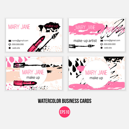 Make-up visitekaartje sjabloon. Make-up sjabloon met n make-up borstel, lippenstift en grunge druppels Stockfoto - 54714712