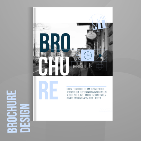 Vector brochure cover template with blured city landscape. Business brochure cover design, flyer brochure cover, professional corporate brochure  cover Vectores