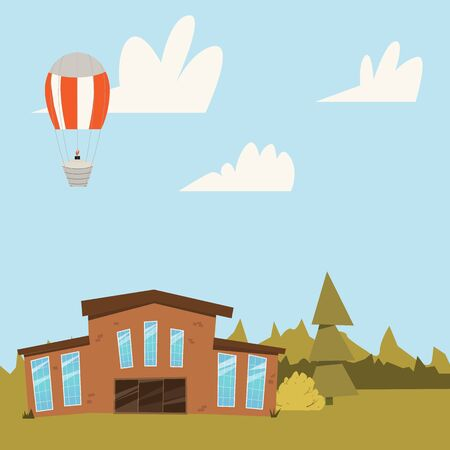 investment real state: Colorful Residential House with trees. Country house scenery background vector illustration.