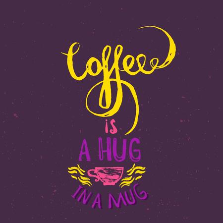 Houd kalm en koffie. Moderne borstel kalligrafie. Handgeschreven inkt letters. De hand getekende ontwerp elementen Stock Illustratie