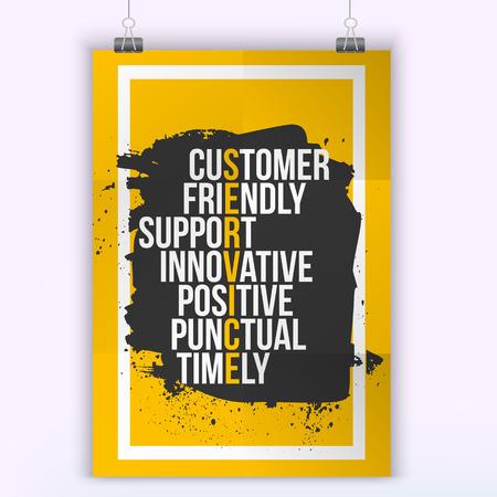 Customer service citaat op grunge vlek. Mock-up voor offertes. A4. Gemakkelijk te bewerken. Vector Illustratie
