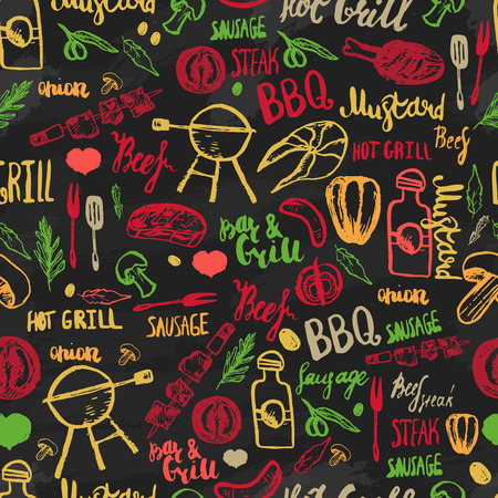 Bbq Barbecue Grill Sketch Seamless Pattern. Colorful BBQ design for wrapping, banners, promotion Vettoriali