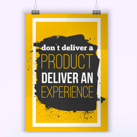 display problem: Quote Don`t deliver a product - Deliver an Experience. Bright Business poster for your wall with bulb.  Optimized mock up for your design