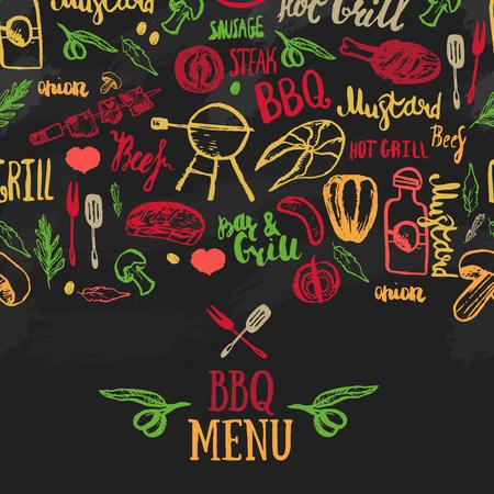 Vector BBQ sjabloon menu ontwerp. Voedselvlieger.