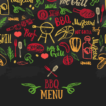 Vector BBQ template menu design. Food flyer.