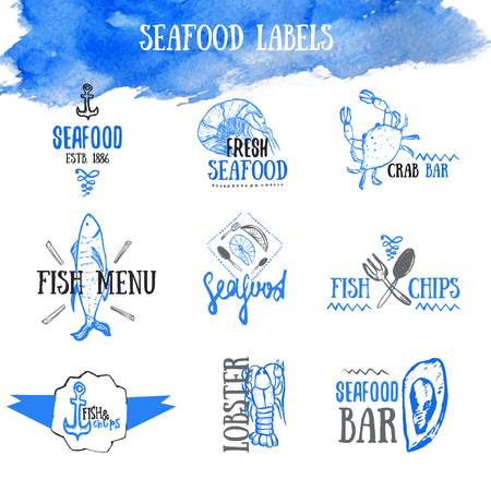 lobster boat: Vector set of seafood labels and signs.