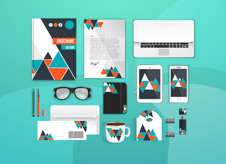 notebook design: Colorful Corporate identity template set. Business stationery mock-up for branding design. Letter envelope, card, catalog, pen, pencil, notebook, tablet pc, mobile phone, letterhead, brochure cover