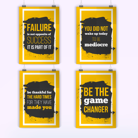 display problem: Set of posters about Motivation Inspiration. Vector Typography Quote Banner Design Concept. Poster mock up.