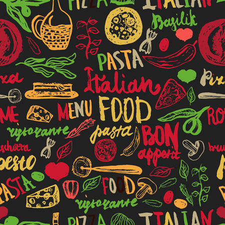 Italian food Seamless Background with Various Groceries: Pasta, Vegetables, pizza and Mushrooms.