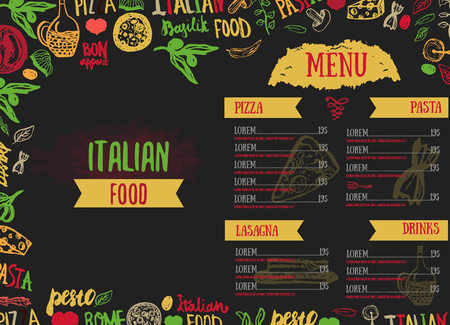 Vector Italian Menu Vector Template, with Various Groceries: Pasta, Vegetables, pizza and Mushrooms and hand drawn lettering Vectores