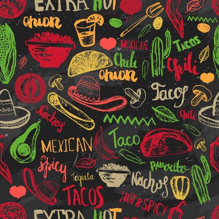 Vector naadloos patroon Mexicaans eten met letters. Mexicaans eten tacos, burrito's, nacho's. Mexicaanse keuken. Kan gebruikt worden voor het restaurant, cafe. Mexicaans eten menu Stock Illustratie