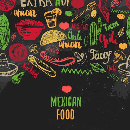 mexican background: Vintage Mexican Food menu with lettering. Mexican food tacos, burritos, nachos. Mexican kitchen. Can be used for restaurant, cafe wrapping