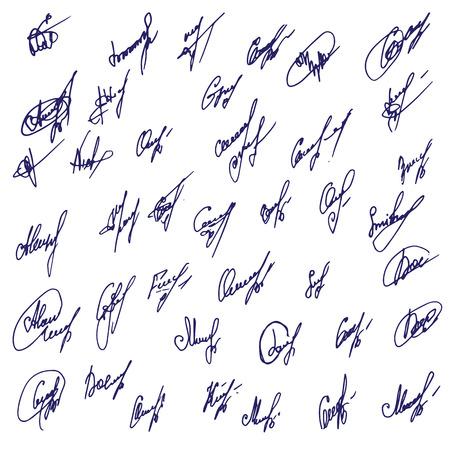 signatures: Big Signatures set - group of fictitious contract signatures. Business autograph illustration
