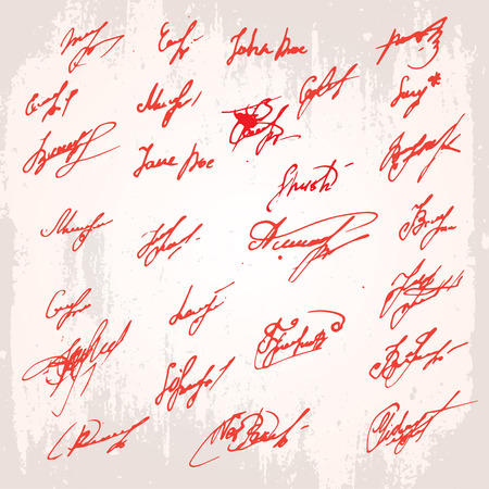 accord: Big Ink Signatures set - group of fictitious contract signatures. Business autograph illustration