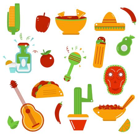 latinoamerica: Mexican  food  icons - Vector illustration. Taco,tequile, sombrero, salsa, cactus, nachos