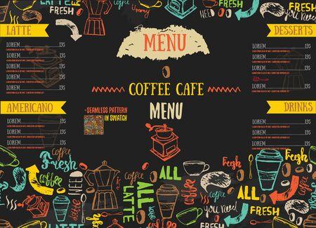 cafe food: Vecor Bistro restaurant menu design with hand drawn lettering on dark color