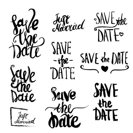 Vector Save The Date belettering Geïsoleerde voor wenskaarten Stock Illustratie