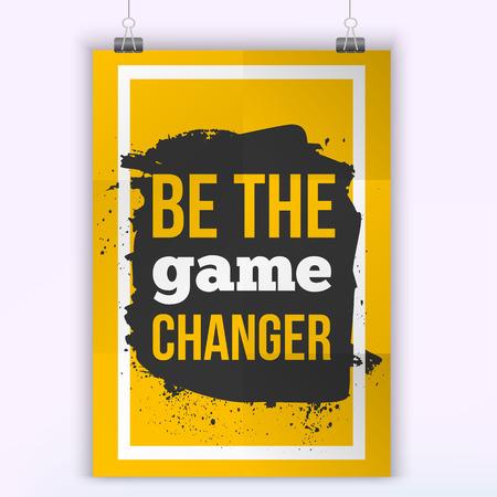 Motievendiecitaat poster kunt de game changer. Mock up design Stock Illustratie