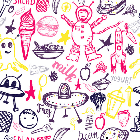 ufos: Seamless pattern Cosmic Kids. Cute colorful hand drawn template  with monsters,astronaut, UFOs. Illustration