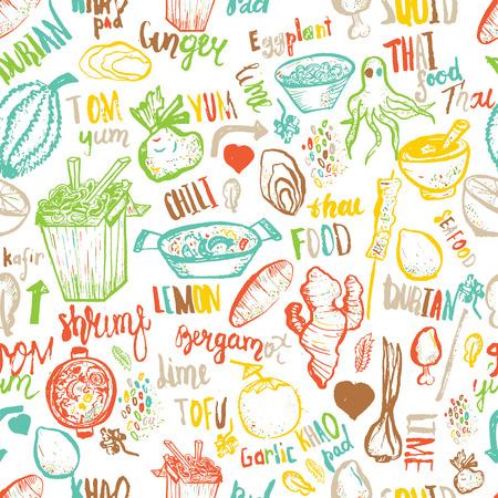 Thai food seamless hand drawn rough pattern. Thai sketches. Illustration