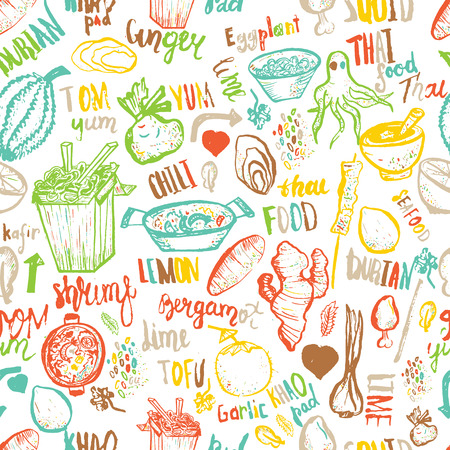 Thai food seamless hand drawn rough pattern. Thai sketches. Ilustração