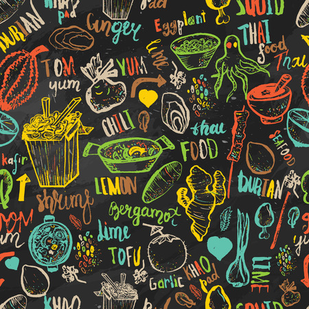 Thai food seamless hand drawn rough pattern. Thai sketches. Ilustrace
