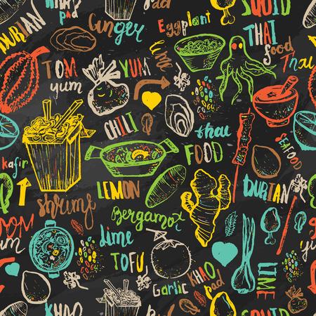 thai noodle: Thai food seamless hand drawn rough pattern. Thai sketches. Illustration