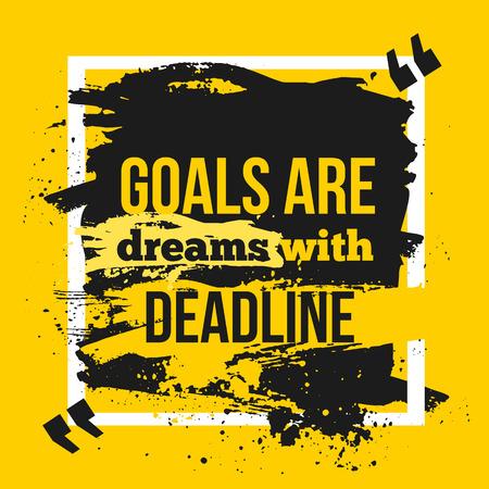 Motivatie Zakelijke Quote Doelen zijn dromen met deadline. Poster. Design Concept op donker papier Stockfoto - 57499395