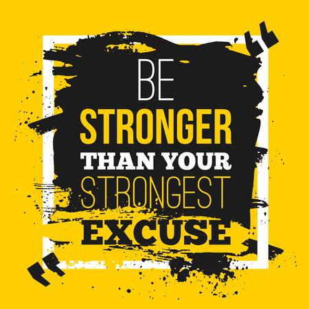Wees sterker dan je verontschuldigingen. Citeeraffiche met document achtergrond en zwarte tellersvlek. A4 mock-up gemakkelijk te bewerken.