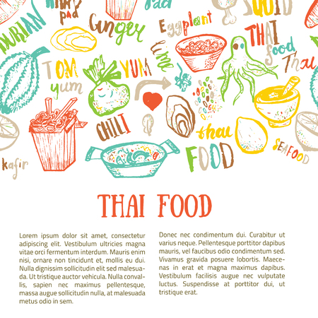 thai food hand drawn banner template with lettering. Vector illustration. Vettoriali