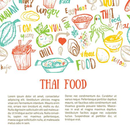 Thais eten hand getekende banner sjabloon met letters. Vector illustratie. Stock Illustratie