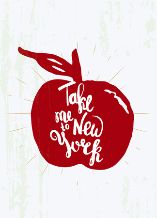 tshirt designs: Take me to New York hand letering in aplle shape. Can be used for posters, t-shirt designs Illustration