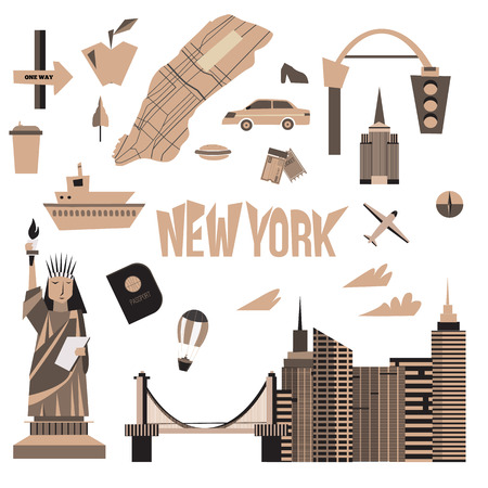 new york taxi: Vector set of Vintage New York city icons in cartoon style. Statue of liberty, map, cityscape, taxi
