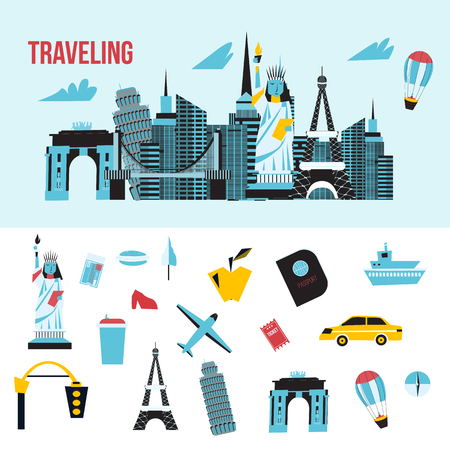 locations: Travel concept and tourism background and locations with icons