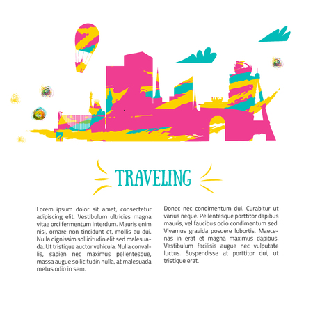 locations: Travel concept and tourism background and locations. Colorful design