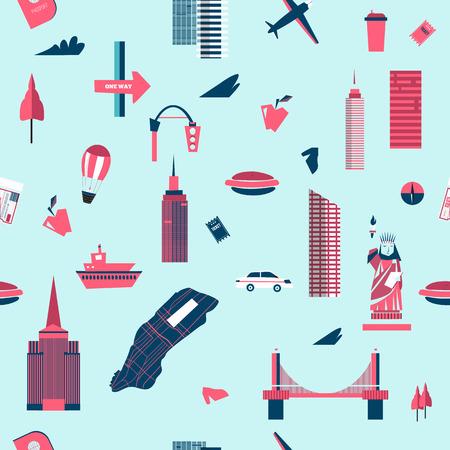 new york skyline: New York seamless pattern. Manhattan USA skyline silhouette cartoon design vector illustration