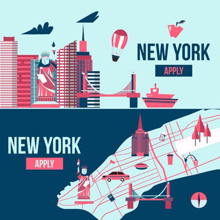 new york skyline: New York banner. Manhattan USA skyline silhouette cartoon design vector illustration