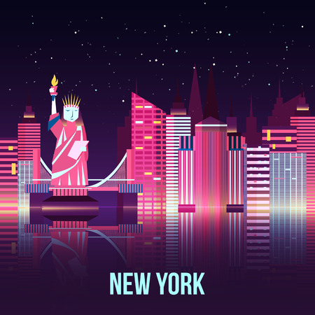 new york night: Vector New York night city illustration with neon glow and vivid colors with reflections