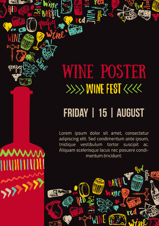 Wine creative colorful Poster. Wine Fest Poster. Wine House Poster with lettering