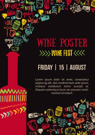 Wino kreatywny kolorowy plakat. Wino Fest plakatu. Wine House plakat z napisem Ilustracje wektorowe