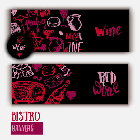 wine background: Wine list Template banner with hand drawn illustration and lettering. Wine signs - bottle, glass, grape, grape leaf, cheese