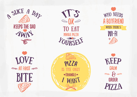 Pizza quote typographical set. Vector illustration of pizza in hand drawn cartoon style. Can be used for poster, wrapping, banners. site background