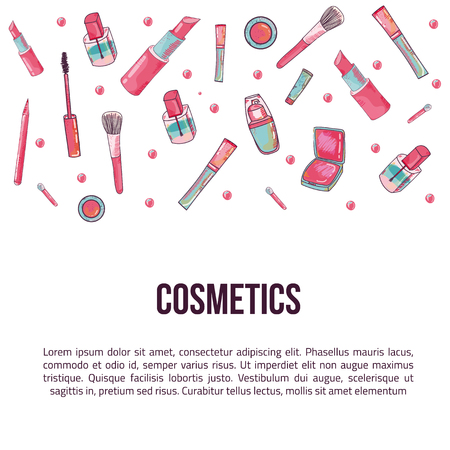 Colorful cosmetic items banner isolated on white background. Top view. Cosmetics illustration