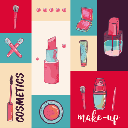 Colorful cosmetic items banner isolated on colorful background. Top view. Make-up illustration Çizim